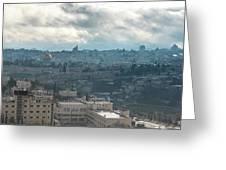 Panoramic View Of Old Jerusalem City Greeting Card