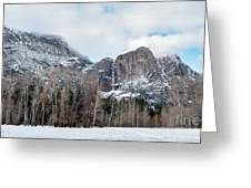 Panoramic View Of Snowed Peaks In Yosemite Park With Snow On The Greeting Card