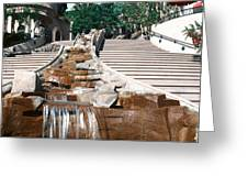 Panoramic View Of Stairs And Waterfall Greeting Card