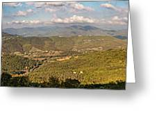 Panoramic View Of Umbrian Hills In Italy Taken From Preggio Greeting Card