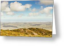 Panoramic Views From Mount Zeehan To Trial Harbour Greeting Card