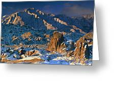 Panoramic Winter In The Alabama Hills Eastern Sierras California Greeting Card