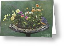 Pansies And Bluebird Greeting Card