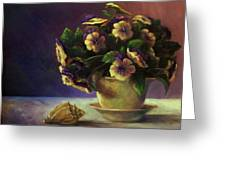 Pansies And Celadon Greeting Card