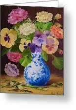 Pansies And Ranunculus Greeting Card