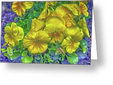 Pansies - Coloring Book Effect Greeting Card
