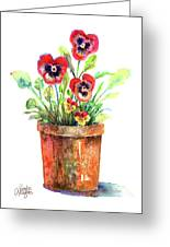 Pansies In A Clay Pot Greeting Card