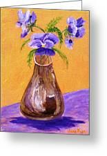 Pansies In Brown Vase Greeting Card by Jamie Frier