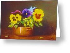 Pansies In Copper Bowl Greeting Card
