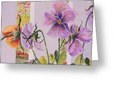 Pansies On My Porch Greeting Card