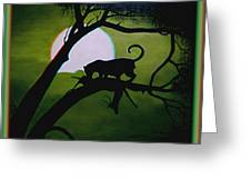 Panther Silhouette - Use Red-cyan 3d Glasses Greeting Card