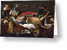 Pantry Scene With Servant By Frans Snyders Greeting Card