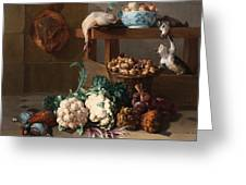 Pantry With Artichokes Cauliflowers And A Basket Of Mushrooms Greeting Card