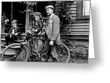 Papa With Charles On Bicycle, Fred On Porch Greeting Card