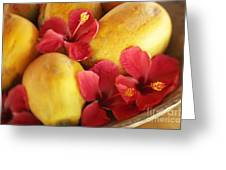 Papaya Fruit And Hibiscus Greeting Card
