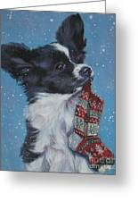 Papillon Puppy With Xmas Stocking Greeting Card