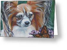 Papillon With Monarch Greeting Card