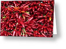 Paprika Peppers At A Market Stall. Greeting Card