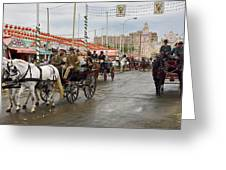 Parade Of Horse Drawn Carriages On Antonio Bienvenida Street Wit Greeting Card