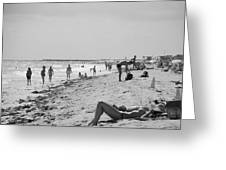 Paradise Beach In Black And White Greeting Card