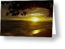Paradise Lensflare Beach Sunset #9412 Greeting Card