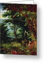 Paradise Scene With Adam And Eve Greeting Card