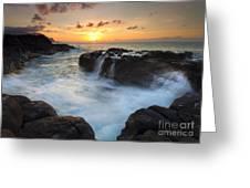 Paradise Sunset Splash Greeting Card