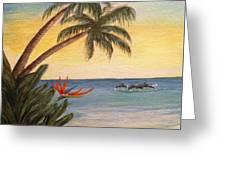 Paradise With Dolphins Greeting Card