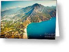 Paragliding Fly Above Laguna Artmif.lv Greeting Card