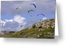 Paragliding Over Sennen Cove Greeting Card