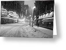 Paramount Snowstorm Boston Ma Washington Street Black And White Greeting Card