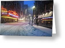Paramount Snowstorm Boston Ma Washington Street Greeting Card