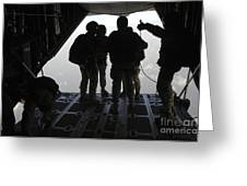 Pararescuemen Prepare For A Halo Jump Greeting Card