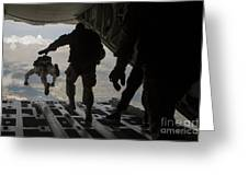 Paratroopers Jump Out Of A Kc-130j Greeting Card