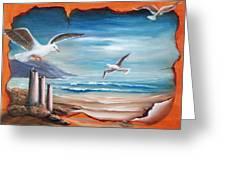 Parchment Seascape Greeting Card by Joni McPherson