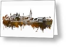 Pardubice Skyline City Brown Greeting Card