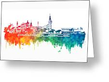 Pardubice Skyline City Color Greeting Card