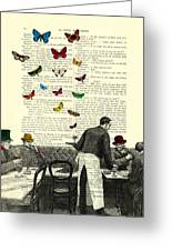 Inside Of A French Bistro At Paris And Rainbow Butterflies Greeting Card