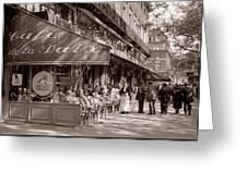 Paris Cafe 1935 Sepia Greeting Card