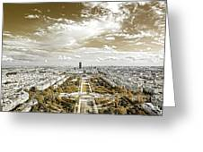 Paris City View 20 Sepia Greeting Card