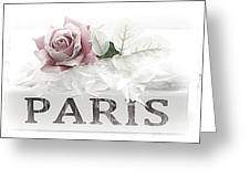 Paris Dreamy Pastel Pink Roses On Paris Book - Romantic Paris Roses And Books Shabby Chic Art Greeting Card