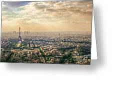 Paris Eiffel Skyline And Cityscape Aerial View At Sunset From Montparnasse Tower Observation Deck  Greeting Card