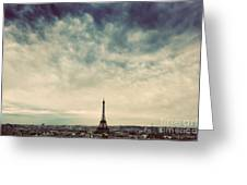 Paris, France Skyline With Eiffel Tower. Dark Clouds, Vintage Greeting Card