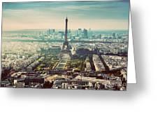 Paris, France Vintage Skyline, Panorama. Eiffel Tower, Champ De Mars Greeting Card