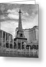 Paris Hotel - Las Vegas B-w Greeting Card