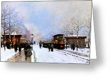Paris In Winter Greeting Card by Luigi Loir