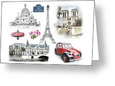 Paris Landmarks. Illustration In Draw, Sketch Style.  Greeting Card