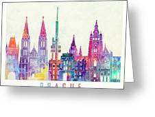 Amsterdam Landmarks Watercolor Poster Greeting Card