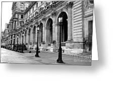 Paris Louvre Black And White Architecture - Louvre Lantern Lights Greeting Card