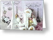 Paris Shabby Chic Holiday Santa - Paris Pink Santa Claus Joyeux Noel - Pink Santa Eiffel Tower Print Greeting Card